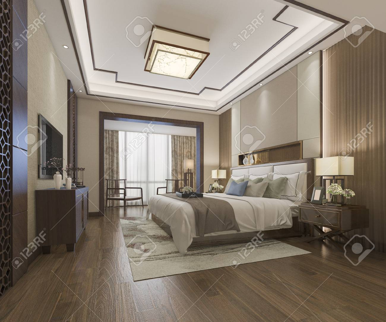 3d Rendering Beautiful Luxury Chinese Bedroom Suite In Hotel Stock Photo Picture And Royalty Free Image Image 106948390