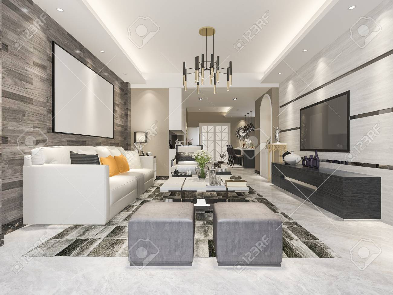 3d Rendering Modern Dining Room And Living With Luxury Decor Standard Bild