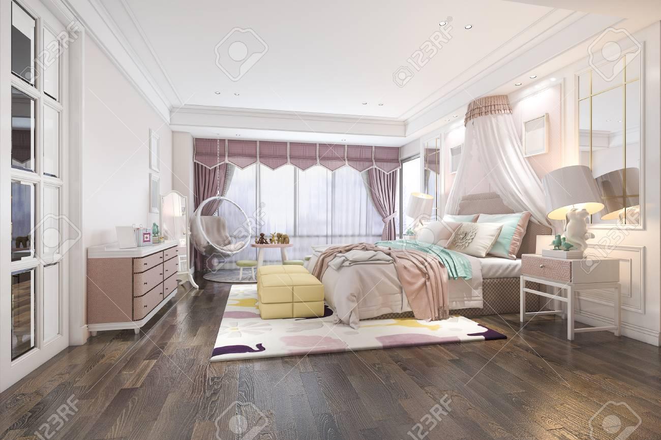 3d rendering beautiful pink vintage kid bedroom