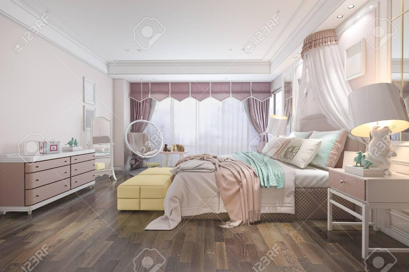 3d Rendering Beautiful Pink Vintage Kid Bedroom Stock Photo, Picture ...