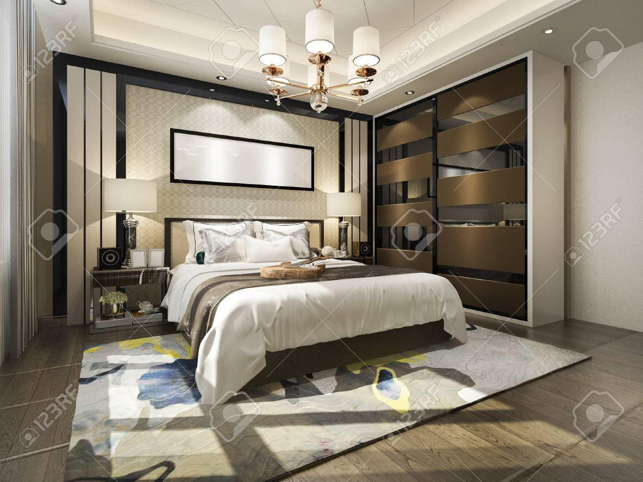 . 3d rendering luxury modern bedroom suite tv with wardrobe and