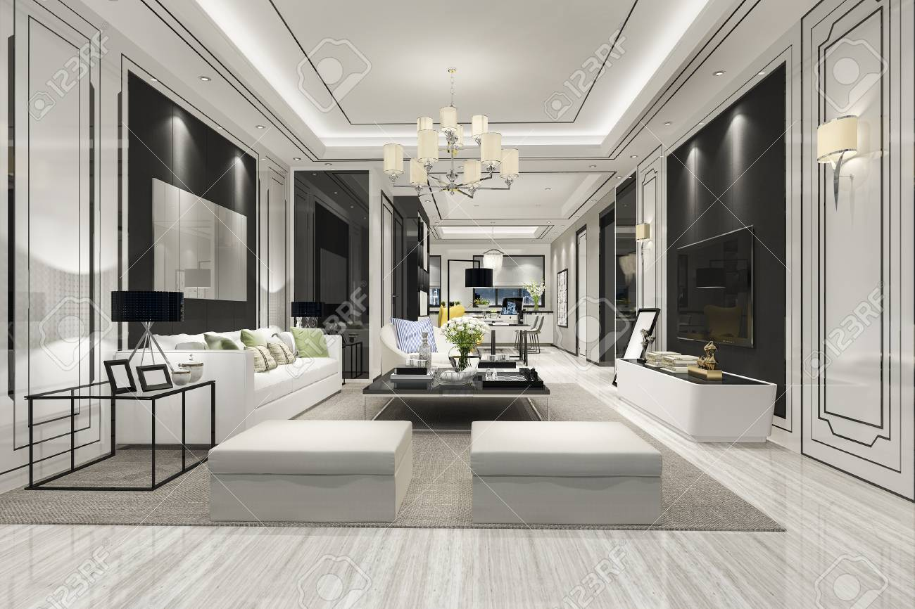 3d rendering modern dining room and living room with luxury decor - 121800892
