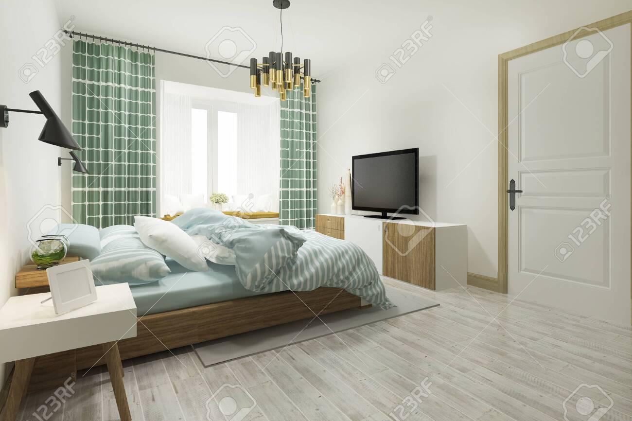 3d rendering green vintage minimal bedroom suite in hotel with..
