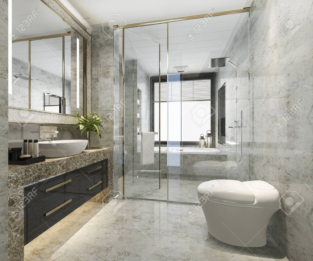 3d rendering classic modern bathroom with luxury tile decor - 135670293