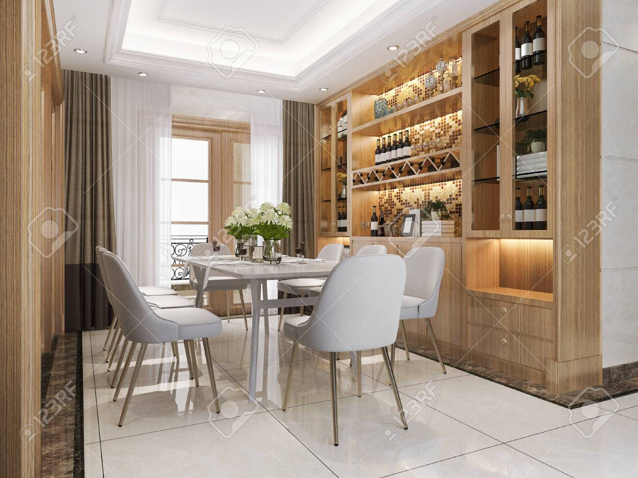 3d rendering modern dining room and living room with luxury decor wine shelf - 142634164