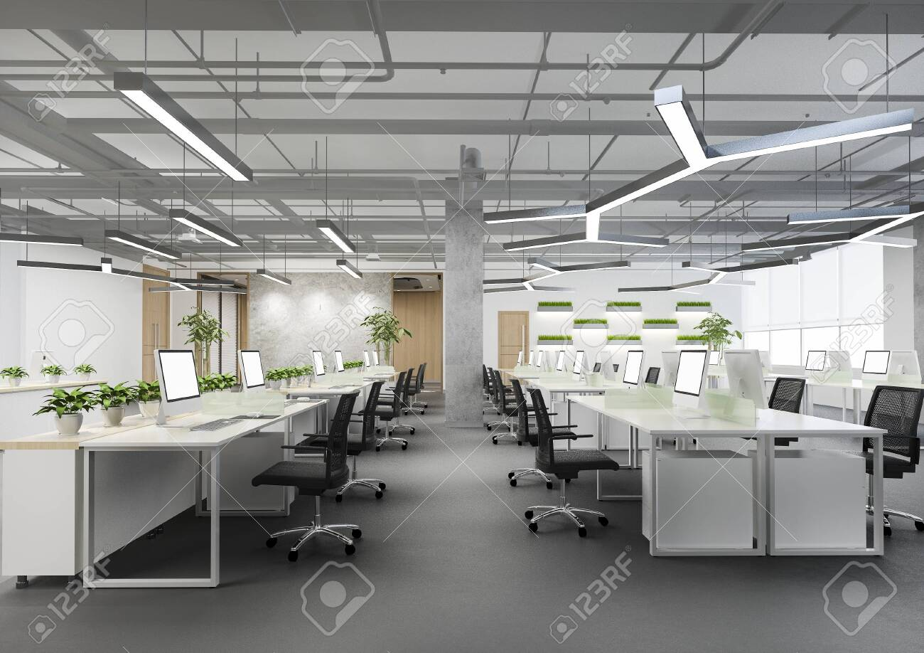 3d rendering business meeting and working room on office building with plant decor - 148612731