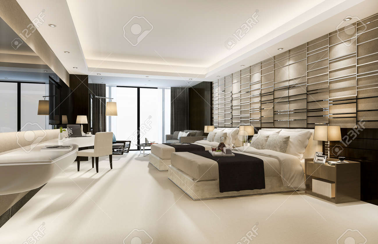 3d rendering luxury classic modern bedroom suite in hotel with king size bed - 156309898