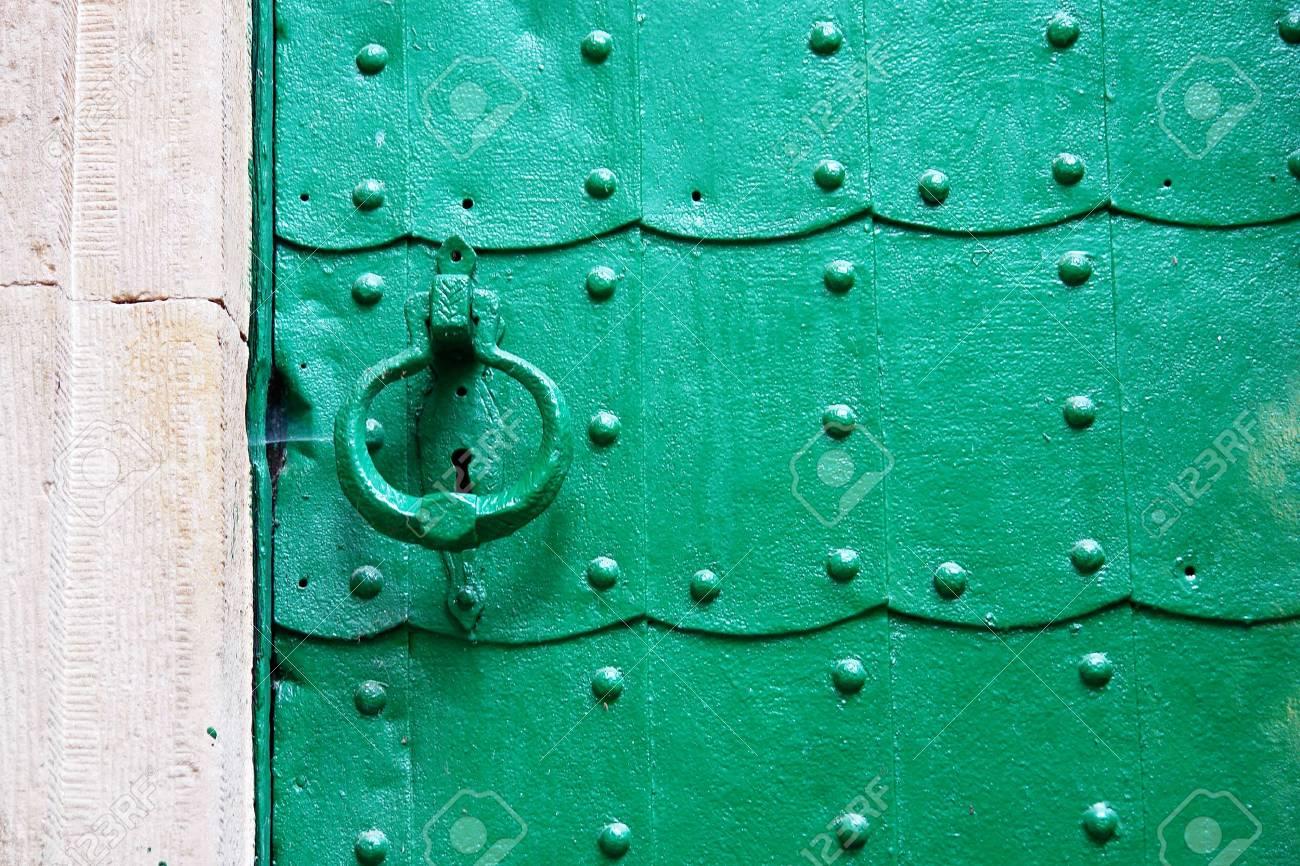 Old green door. Slavic church Stock Photo - 2186091