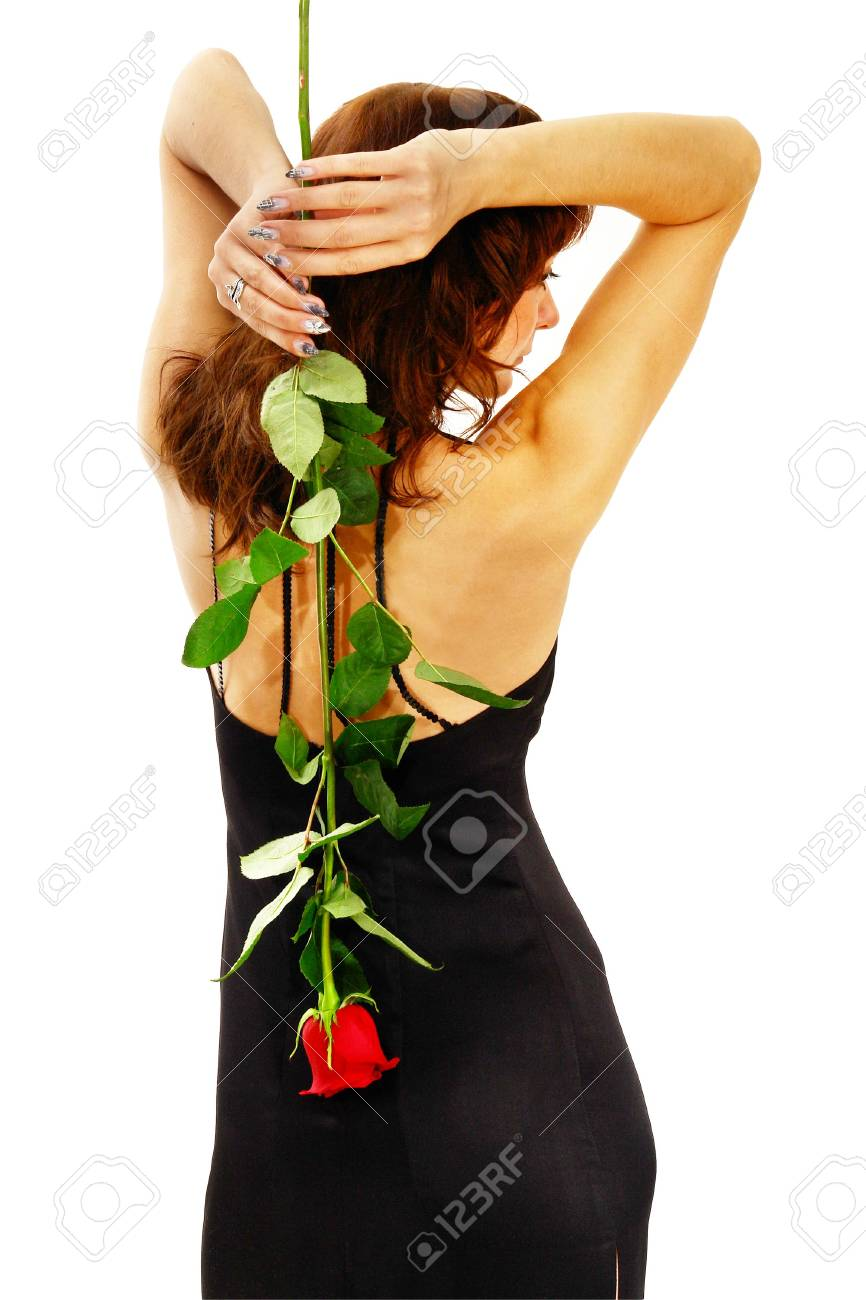 Girl in black with red rose. Isolated on white. Stock Photo - 2186179