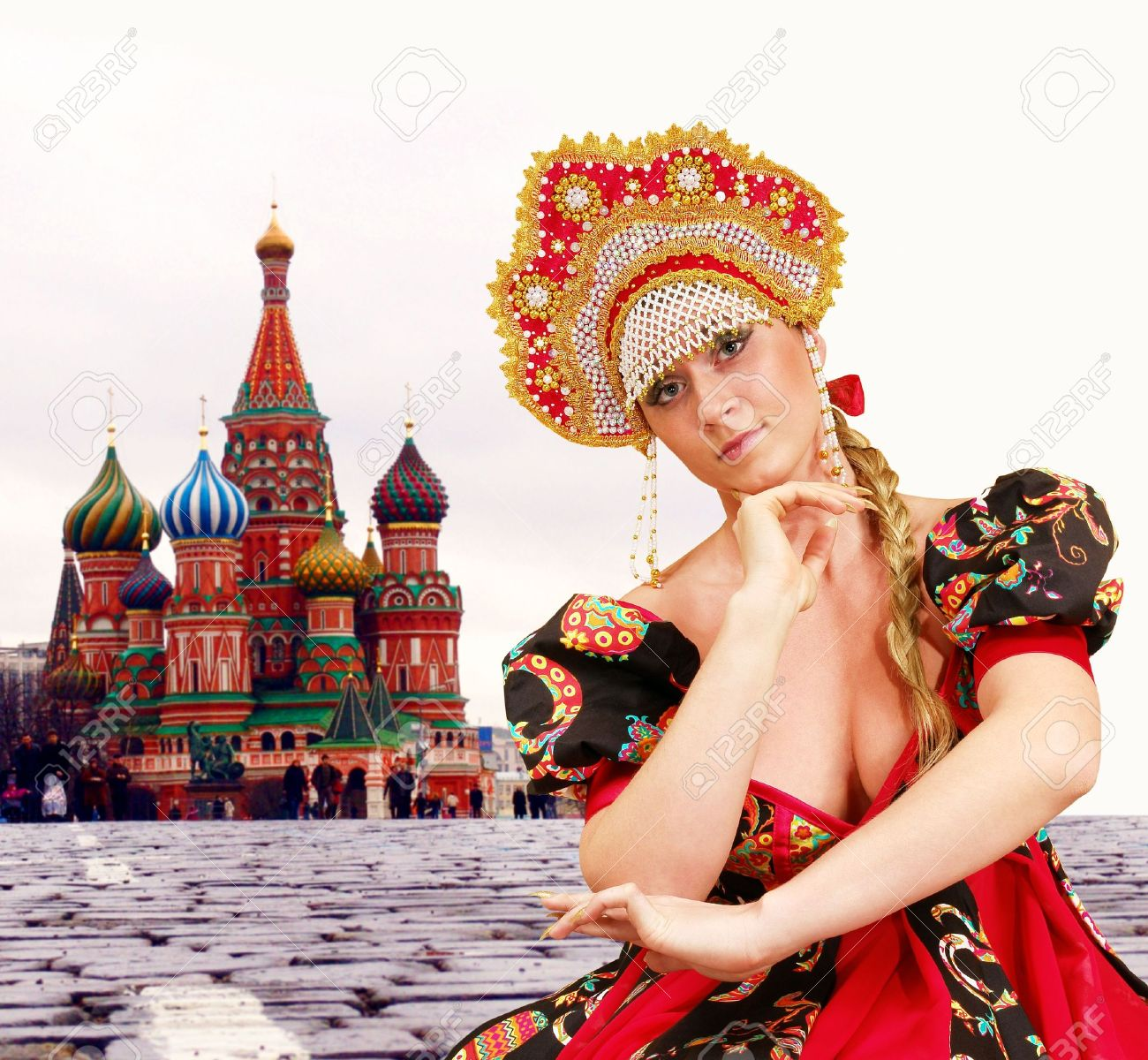dancing girl in traditional russian dress red square moscow dancing girl in traditional russian dress red square moscow stock photo 2187185