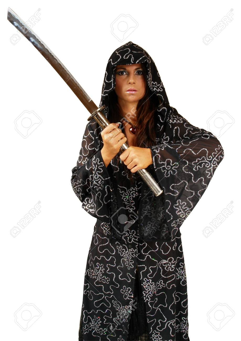 Girl in cowl with sword. Isolated on white Standard-Bild - 2187159