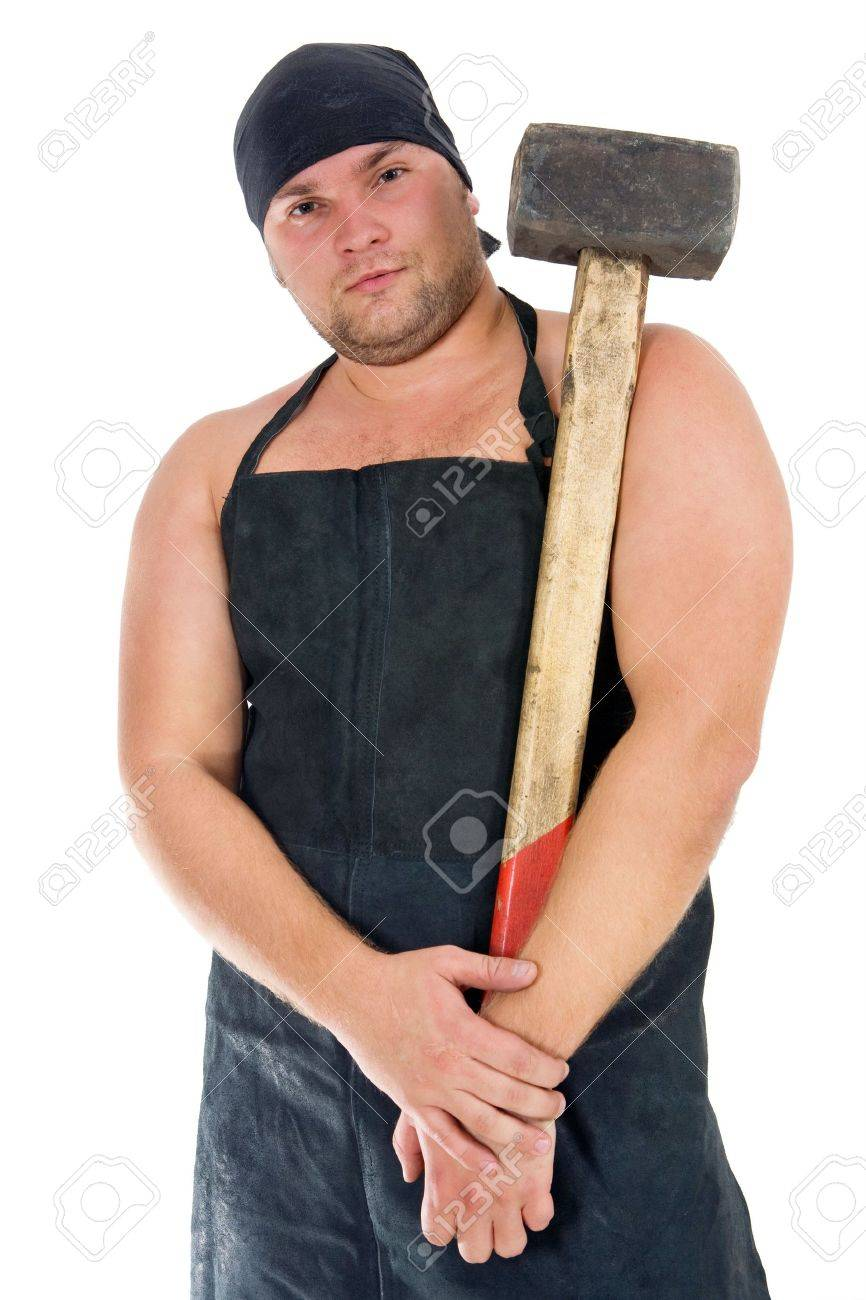 Portrait of blacksmith with old hammer. Isolated on white background. Stock Photo - 3564363