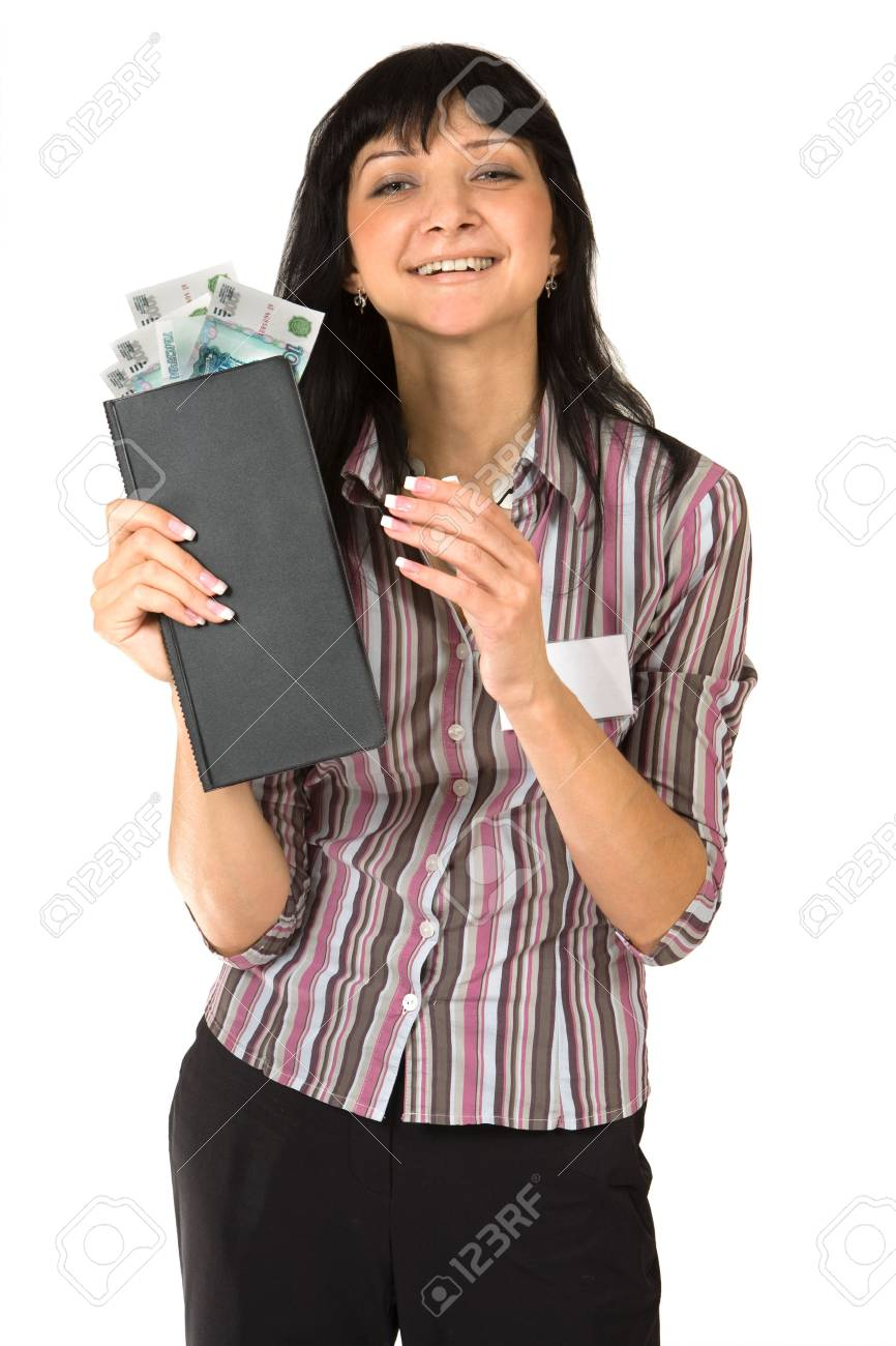Portrait of smiling girl with the folder and money. Isolated on white. Stock Photo - 3646757