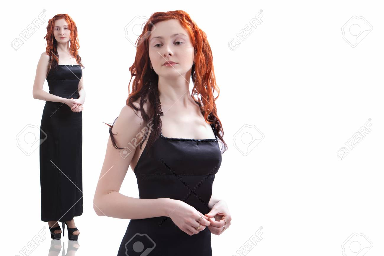 Pretty girl in the black evening dress. Isolated on white. Stock Photo - 6941786