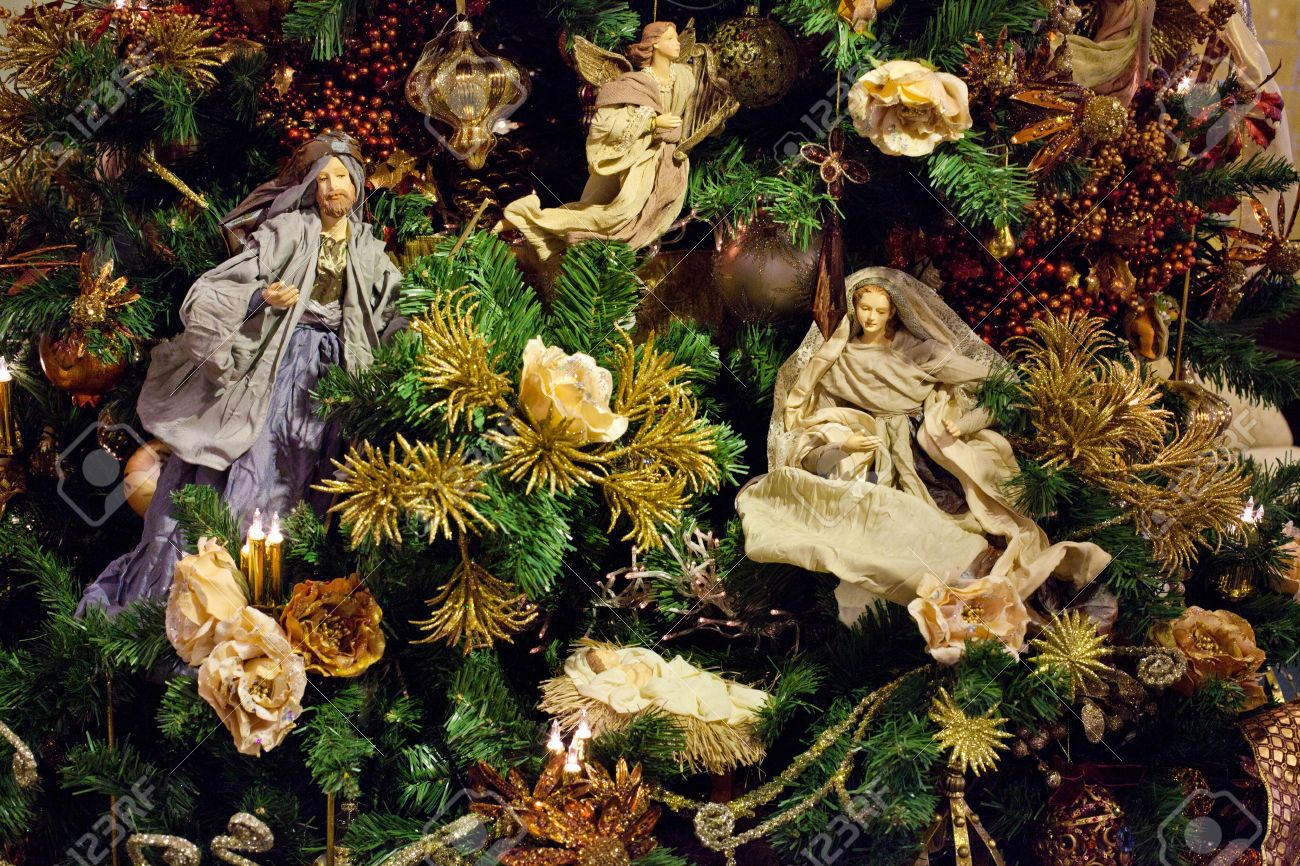Decoration On The Christmas Tree. Newborn Jesus With Maria. Stock ...