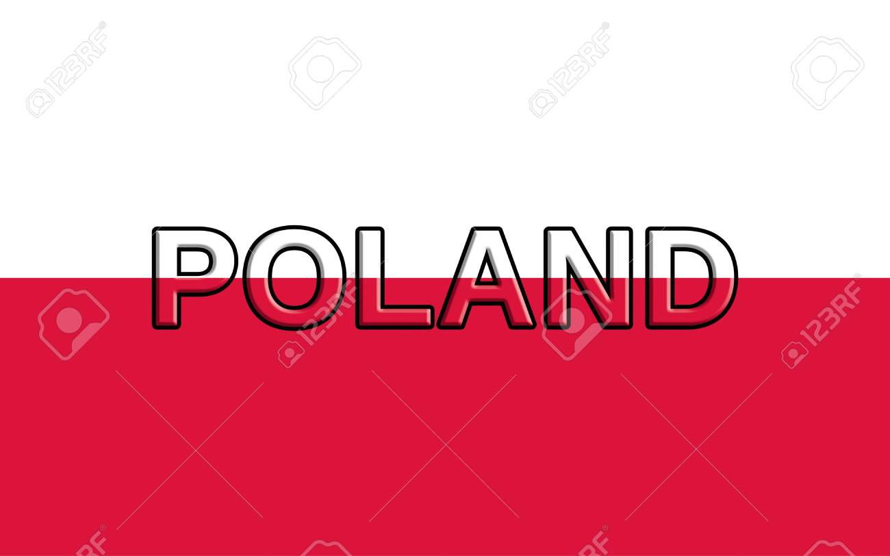 illustration of the national flag of poland with the word poland