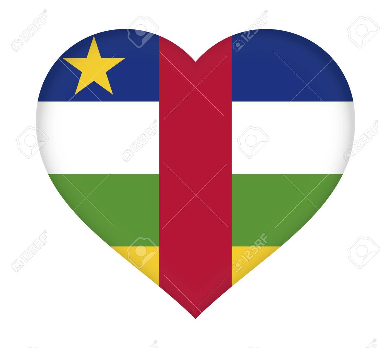 中央アフリカ共和国の国旗のイラストは、ハートのような形。 の写真 ...