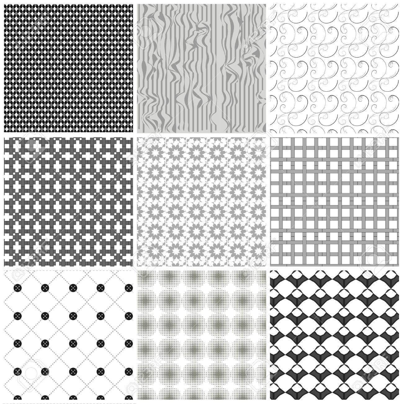 Set of monochrome geometrical patterns. Stock Vector - 8125687