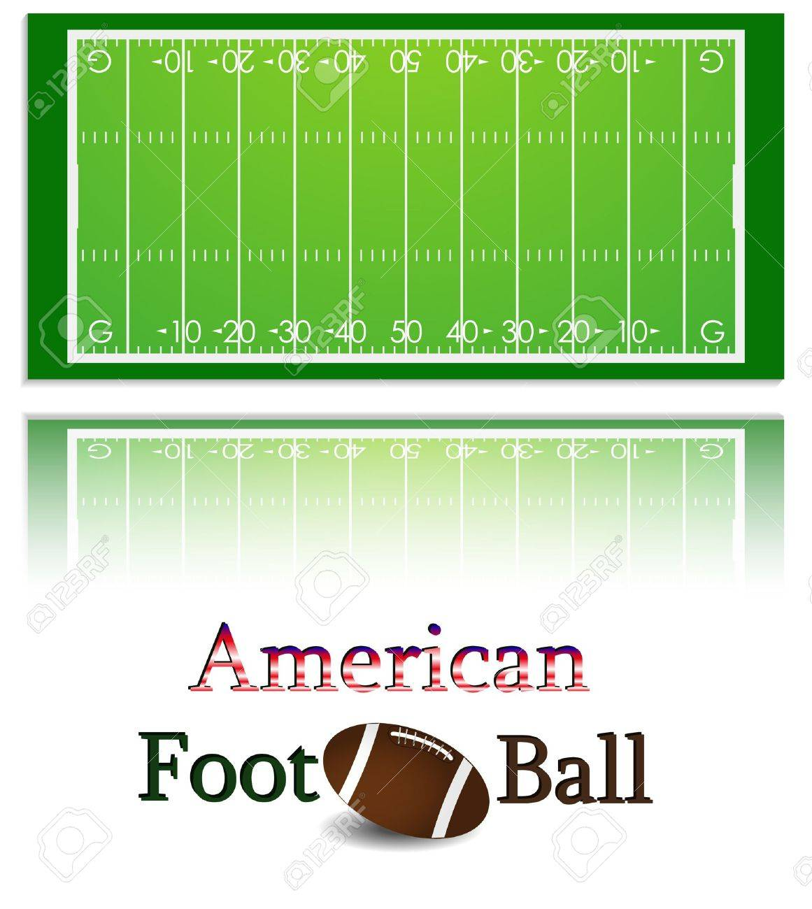 Illustration of a american football field and ball. Each element on a separate layer. Stock Vector - 8197764