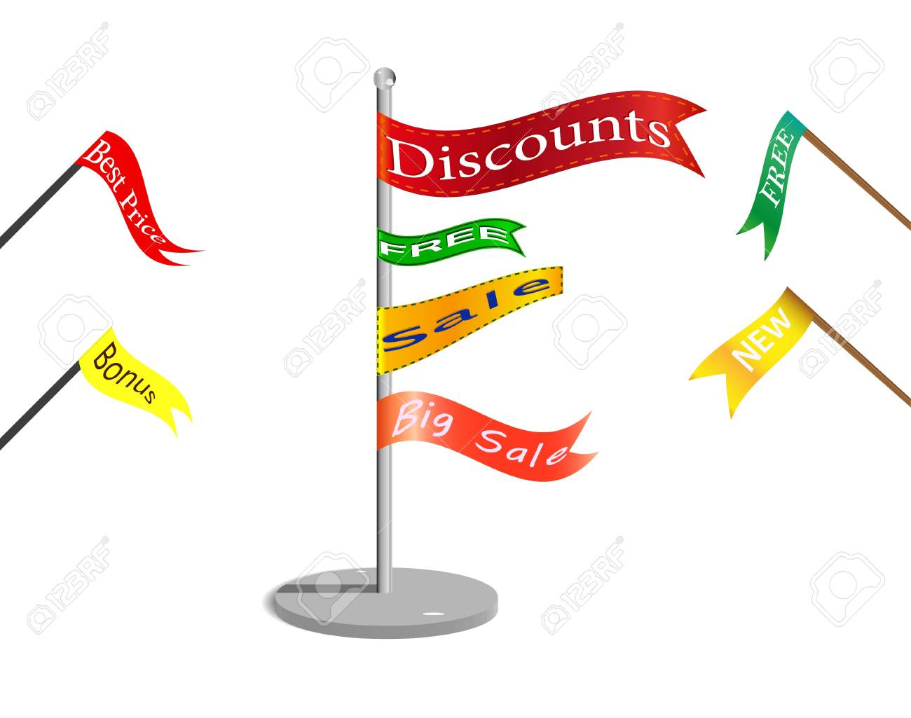 Flags with commercial signs. Stock Vector - 8330127