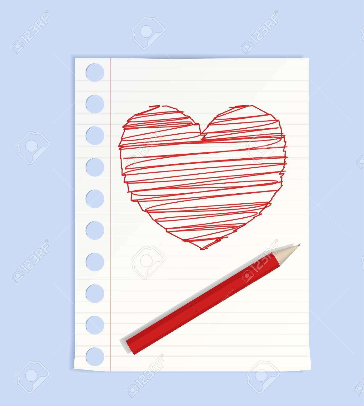 Big pencil drew a heart Stock Vector - 8519229