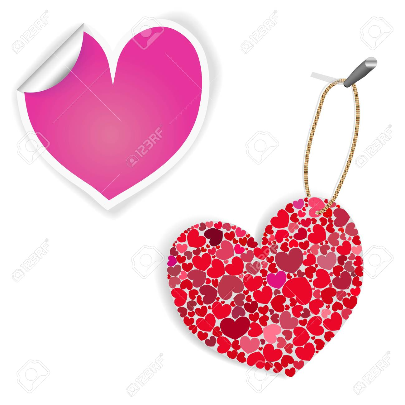 Pink And White Heart Labels Stock Vector - 8570623