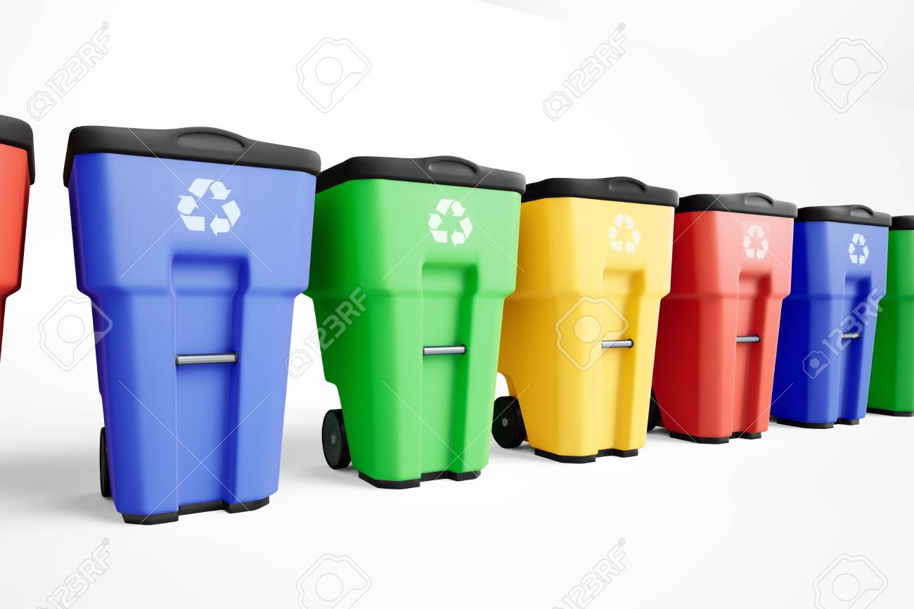 Colorful plastic trash bins set in a row  White background