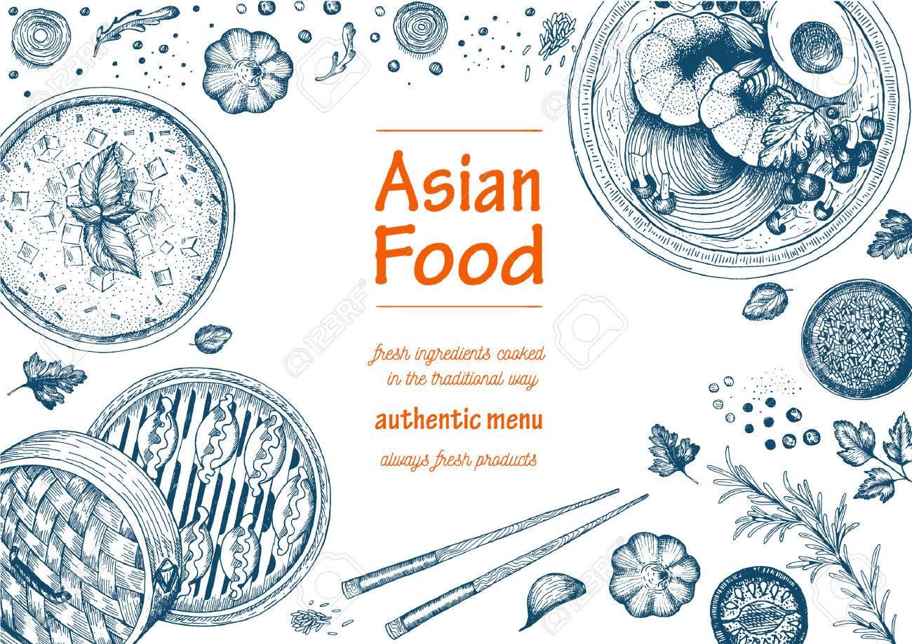 Asiatische Küche Rahmen. Linear-Grafik. Lizenzfrei Nutzbare ...