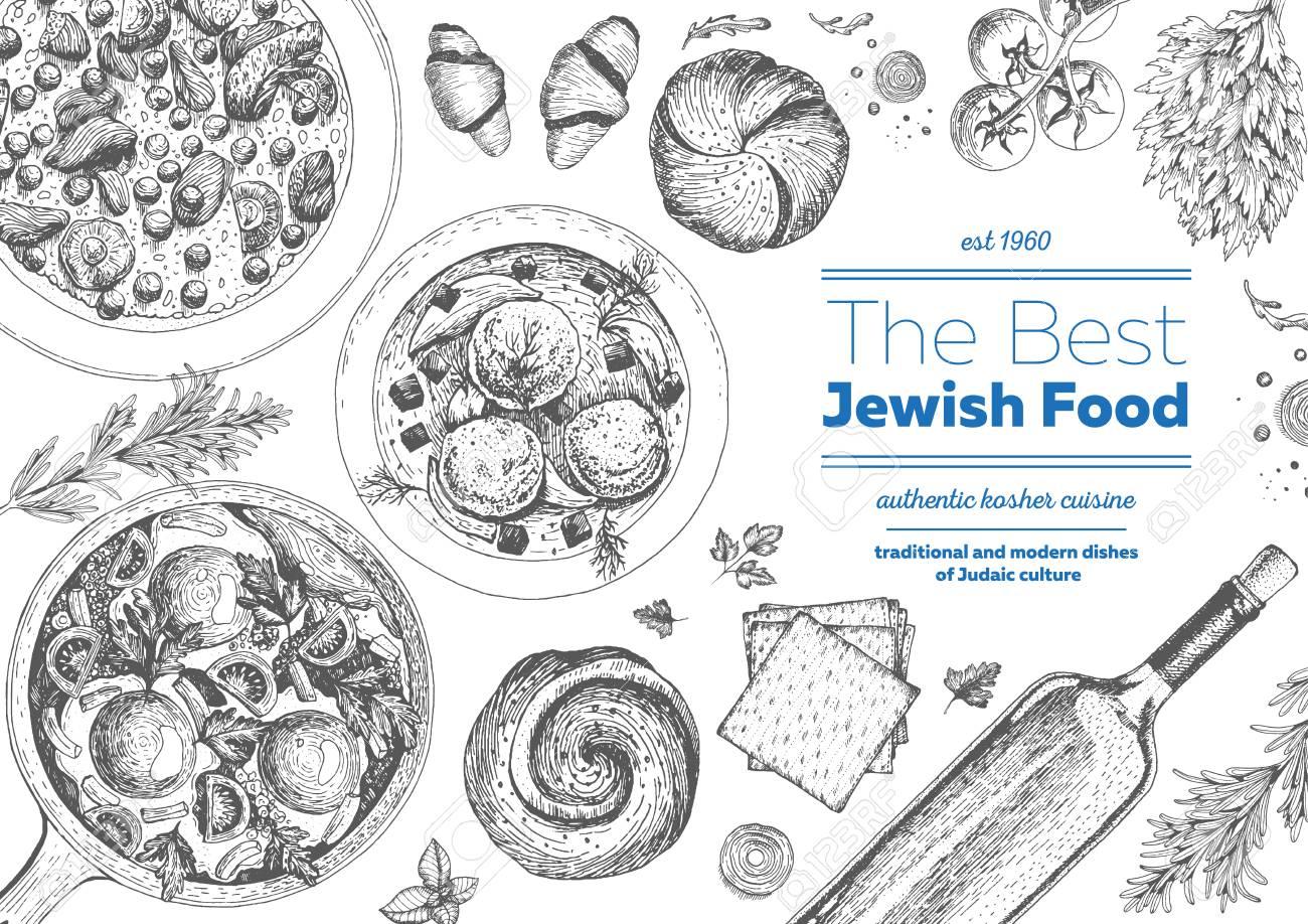 Jewish Cuisine Top View Frame. Jewish Food Menu Design. Kosher ...