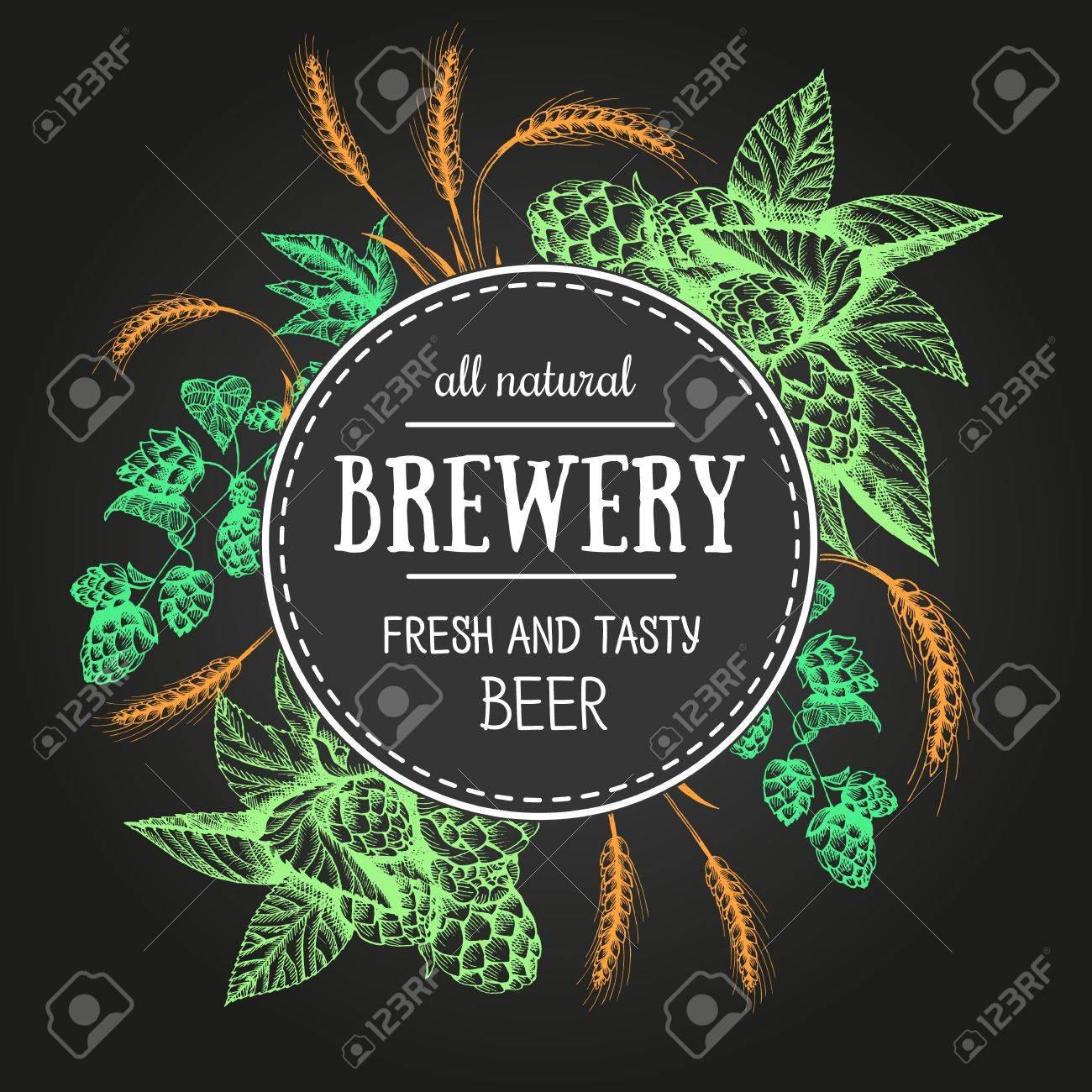 Vorlage Vektor Bier Etikett Mit Glas Bier 13