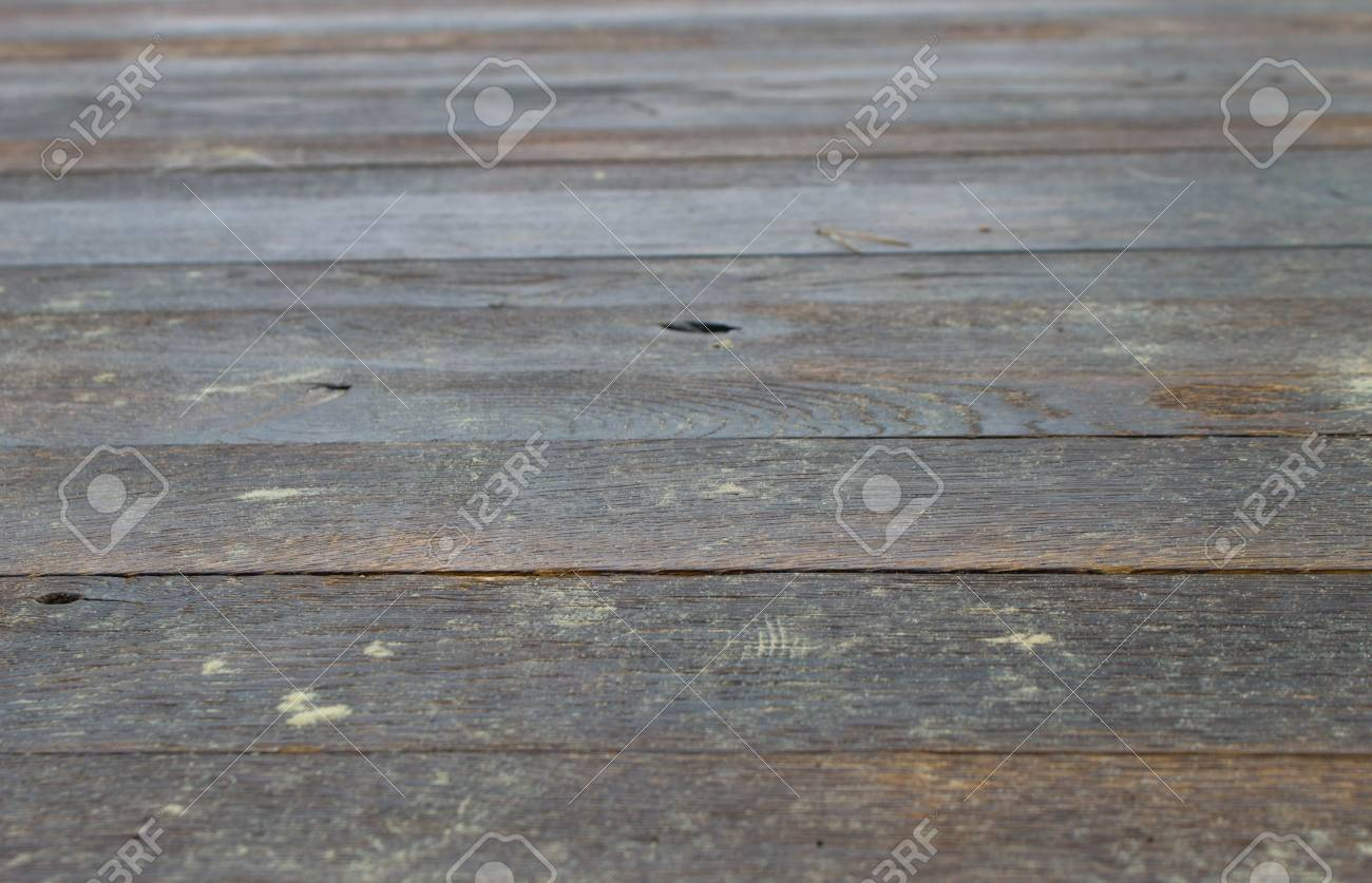 Wooden Flooring Of Transverse Planks With Iron Nails Stock Photo