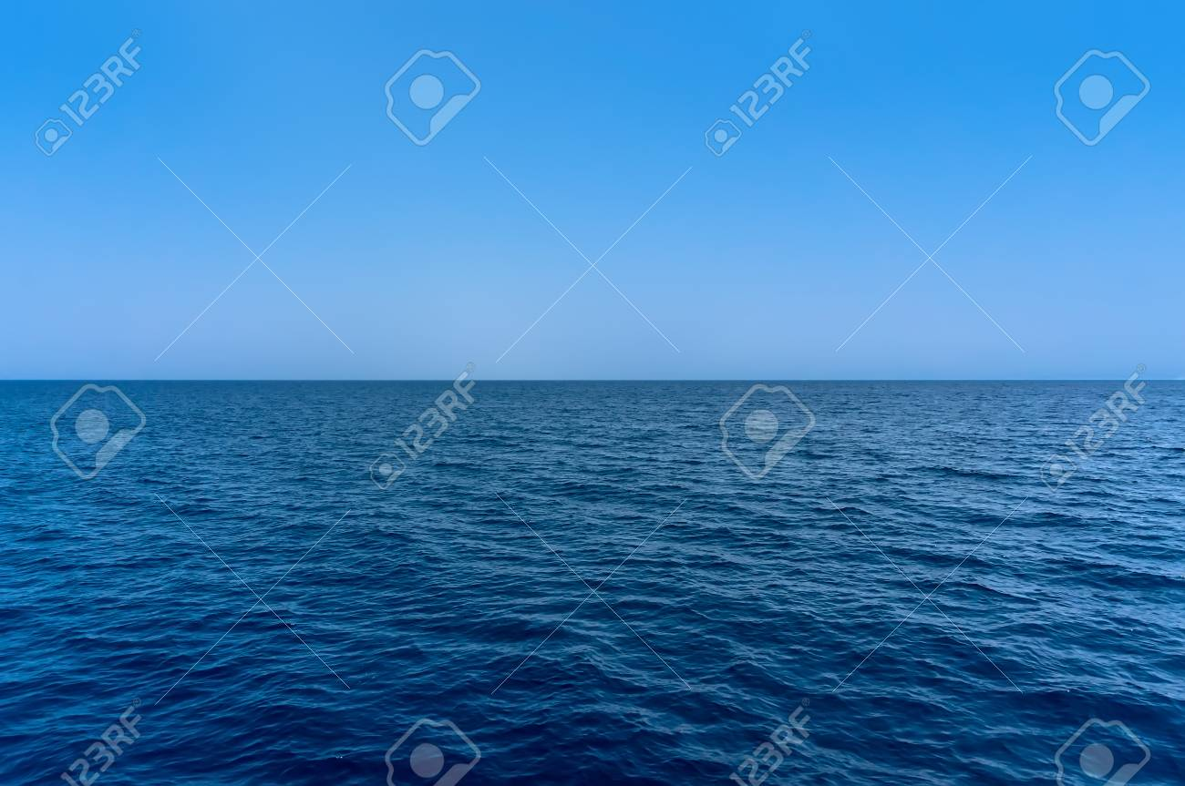 the Blue sea water surface on sky - 44721346