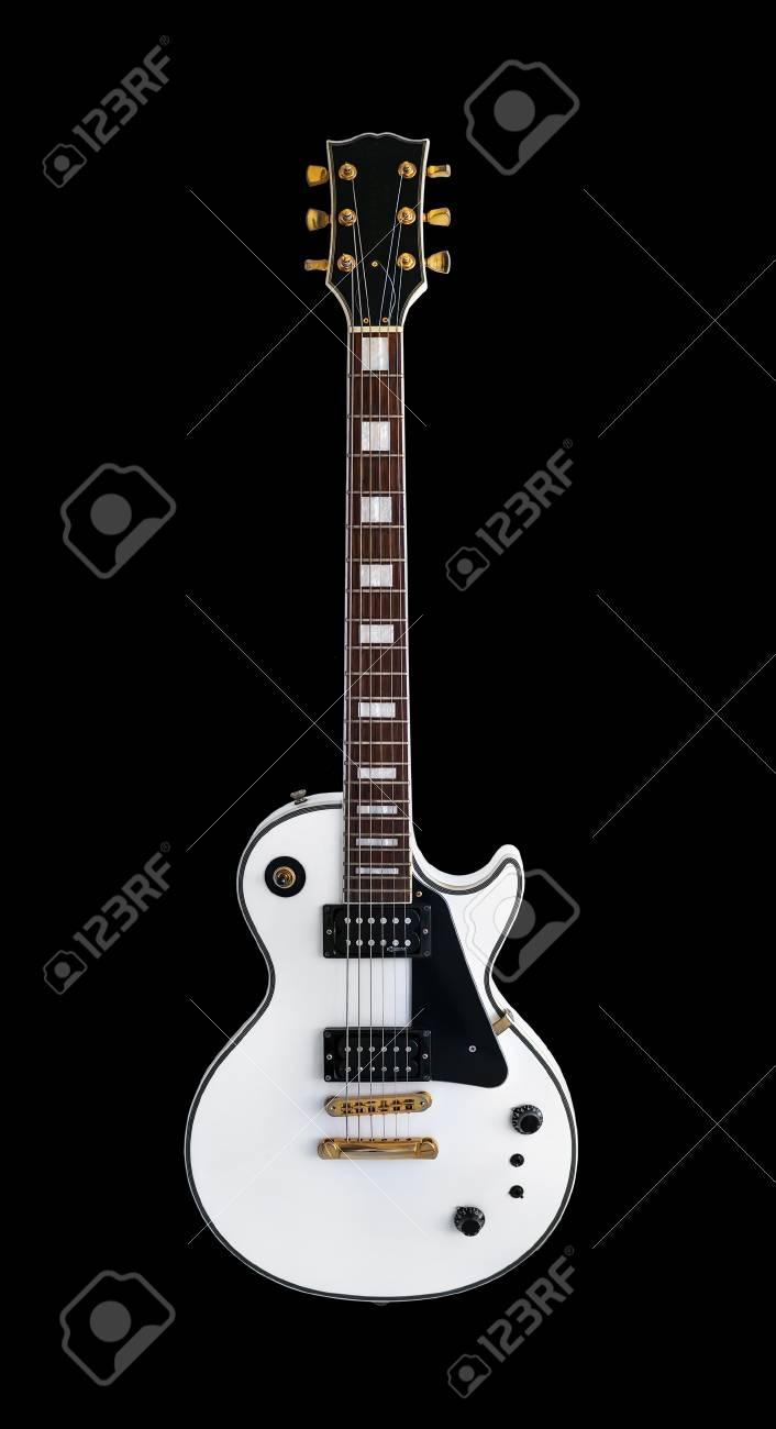 白いエレキギター分離黒い背景に古典的な形状レスポールギブソン