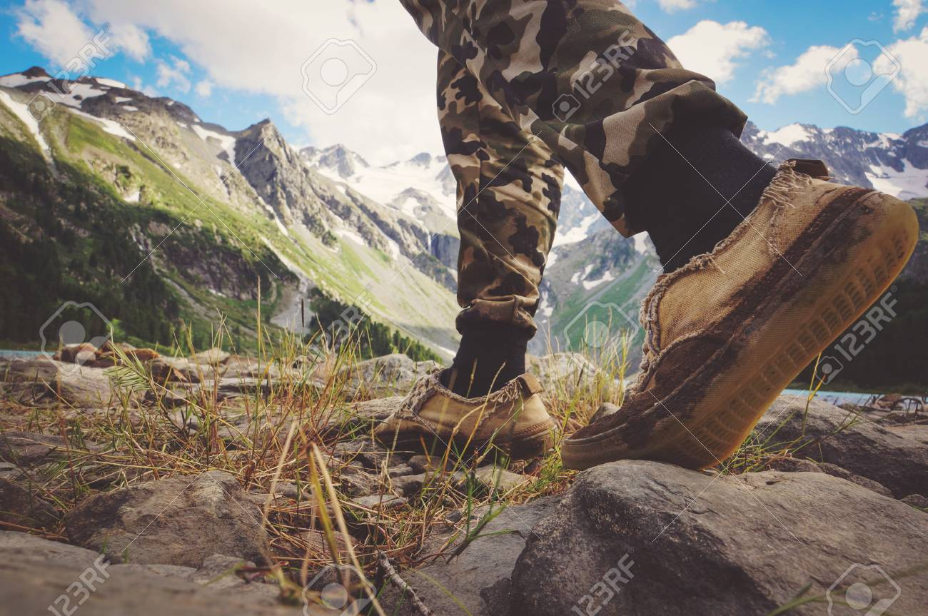 Close Up On Shoes On Mountains Trail Mountain Adventure The