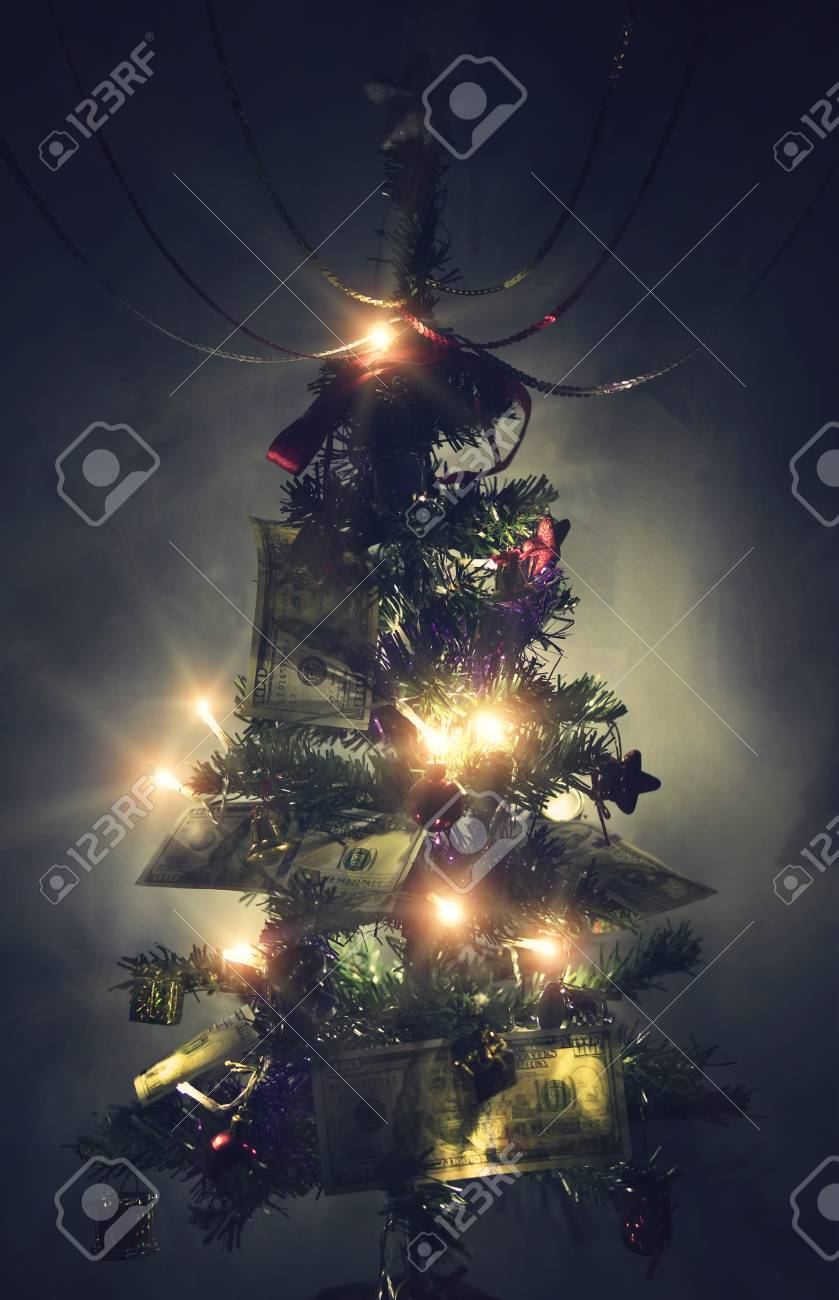 Dollar Background Christmas, Pine Tree Branches, New-year Fir Tree ...