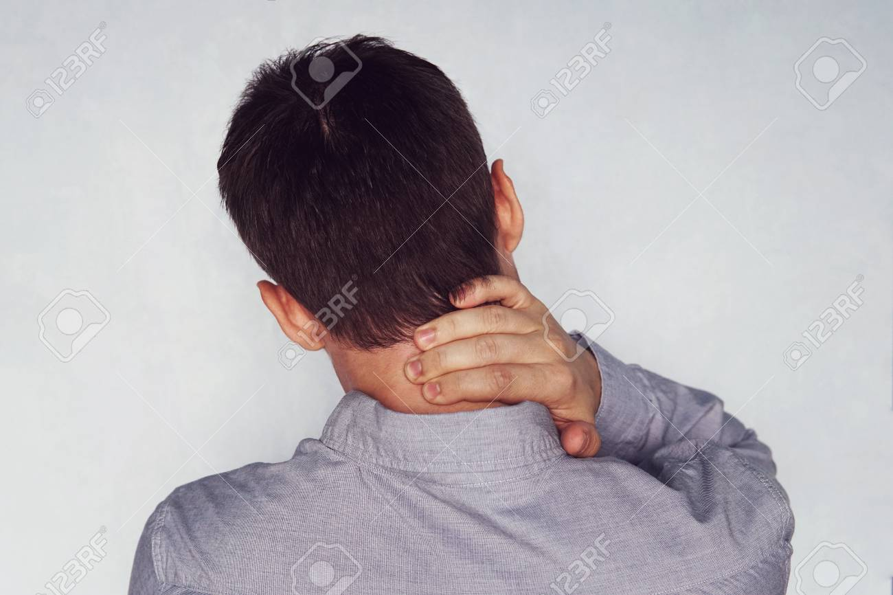 Businessman neck pain after working in the office too long time. instability of cervical vertebrae. neck pain. cervical chondrosis - 109493780