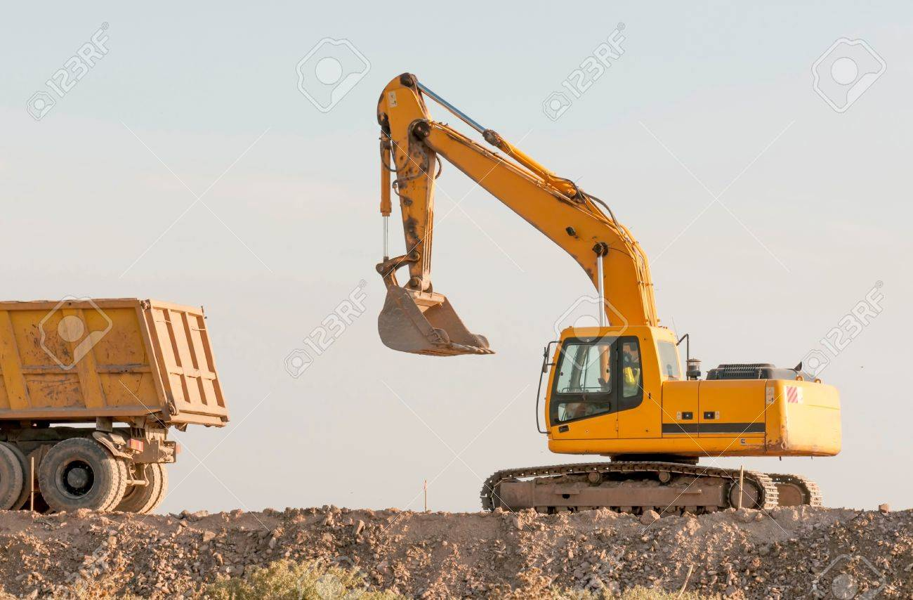 Support activities for the construction of roads and highways. Road under construction. Stock Photo - 15772267