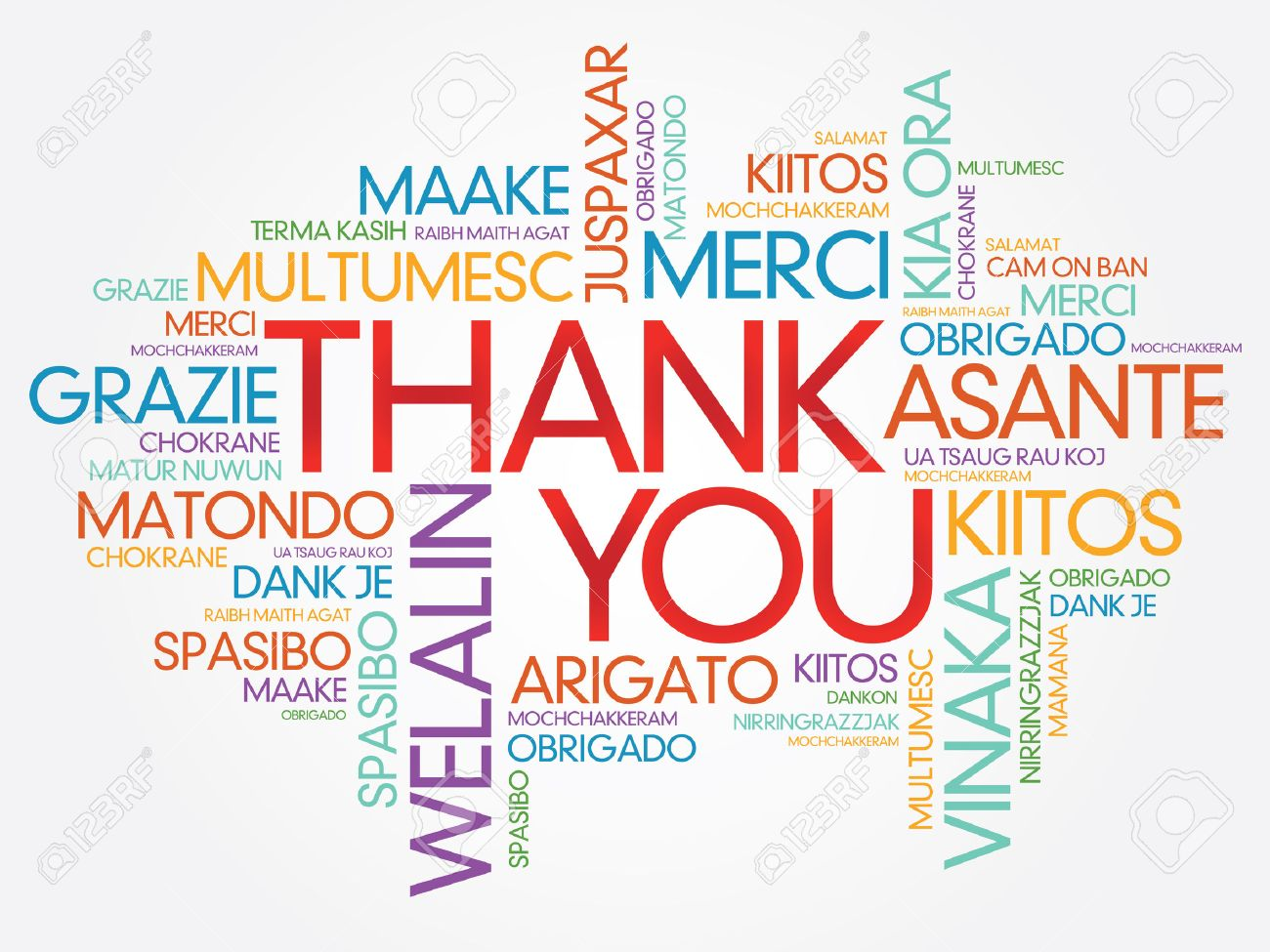 Thank You Word Cloud vector background, all languages - 37099803
