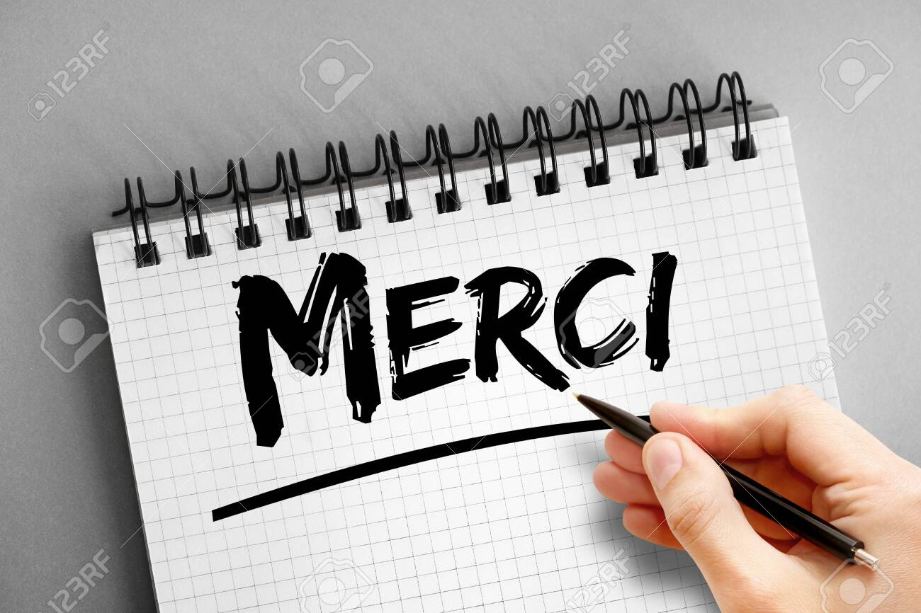 Merci (Thank You In French) text, concept background - 150339710