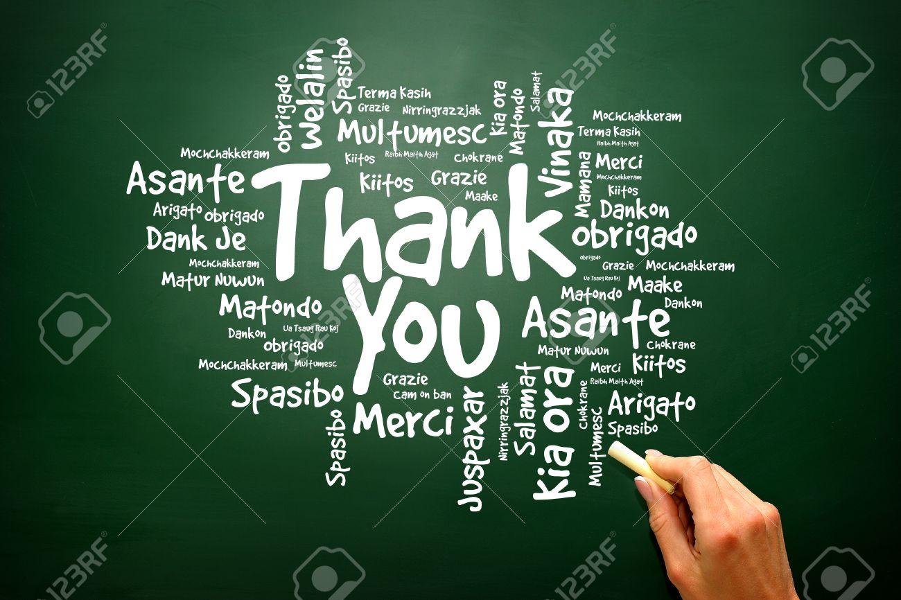 Thank You Word Cloud On Blackboard Presentation Background Stock
