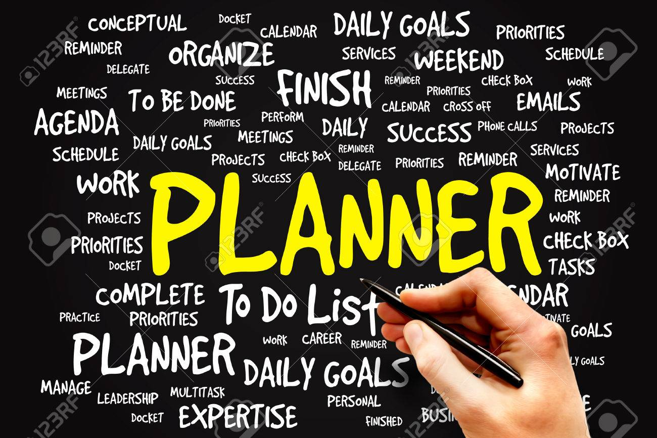 planner word cloud business concept stock photo picture and