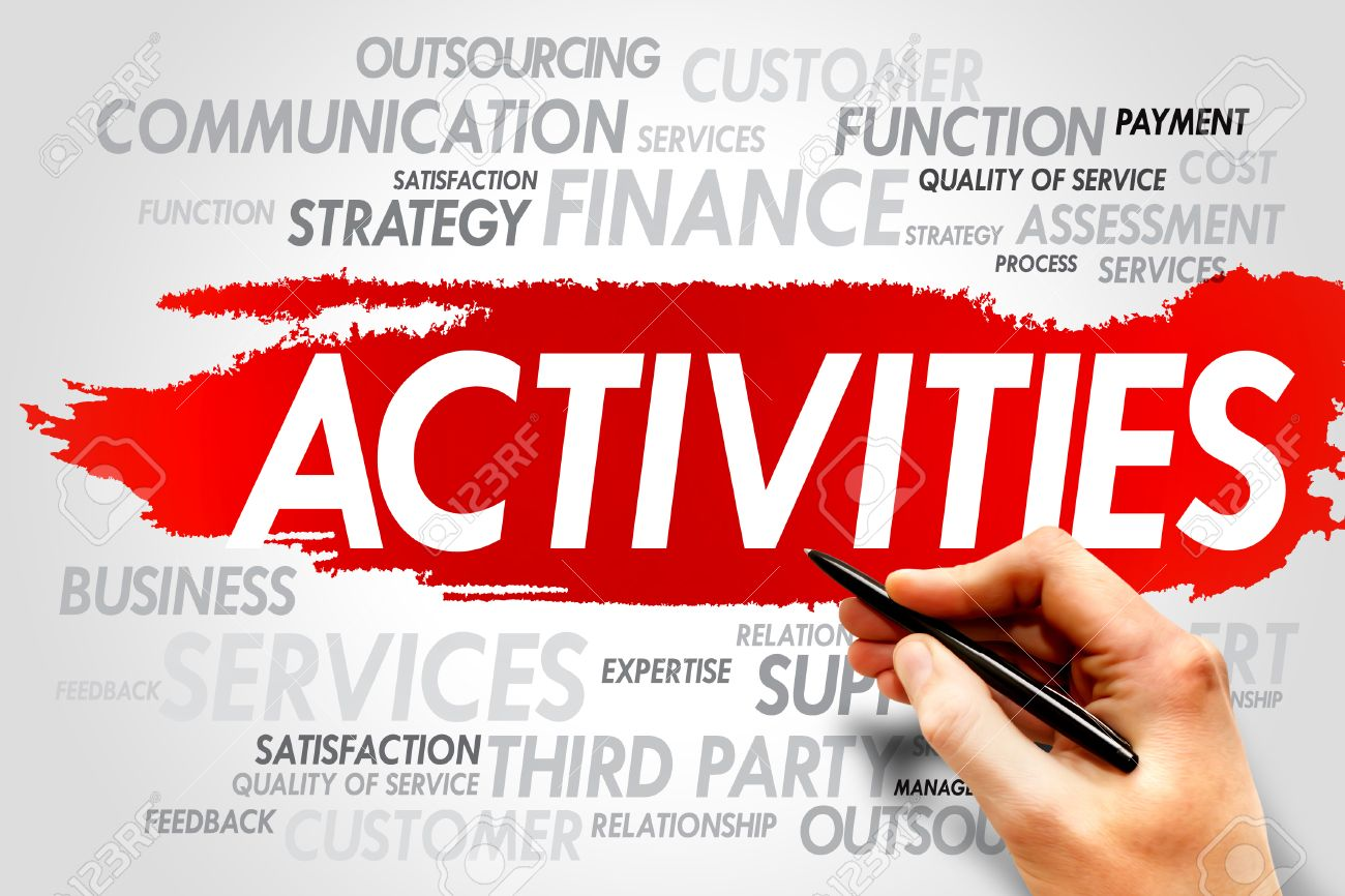 activities word cloud business concept stock photo picture and