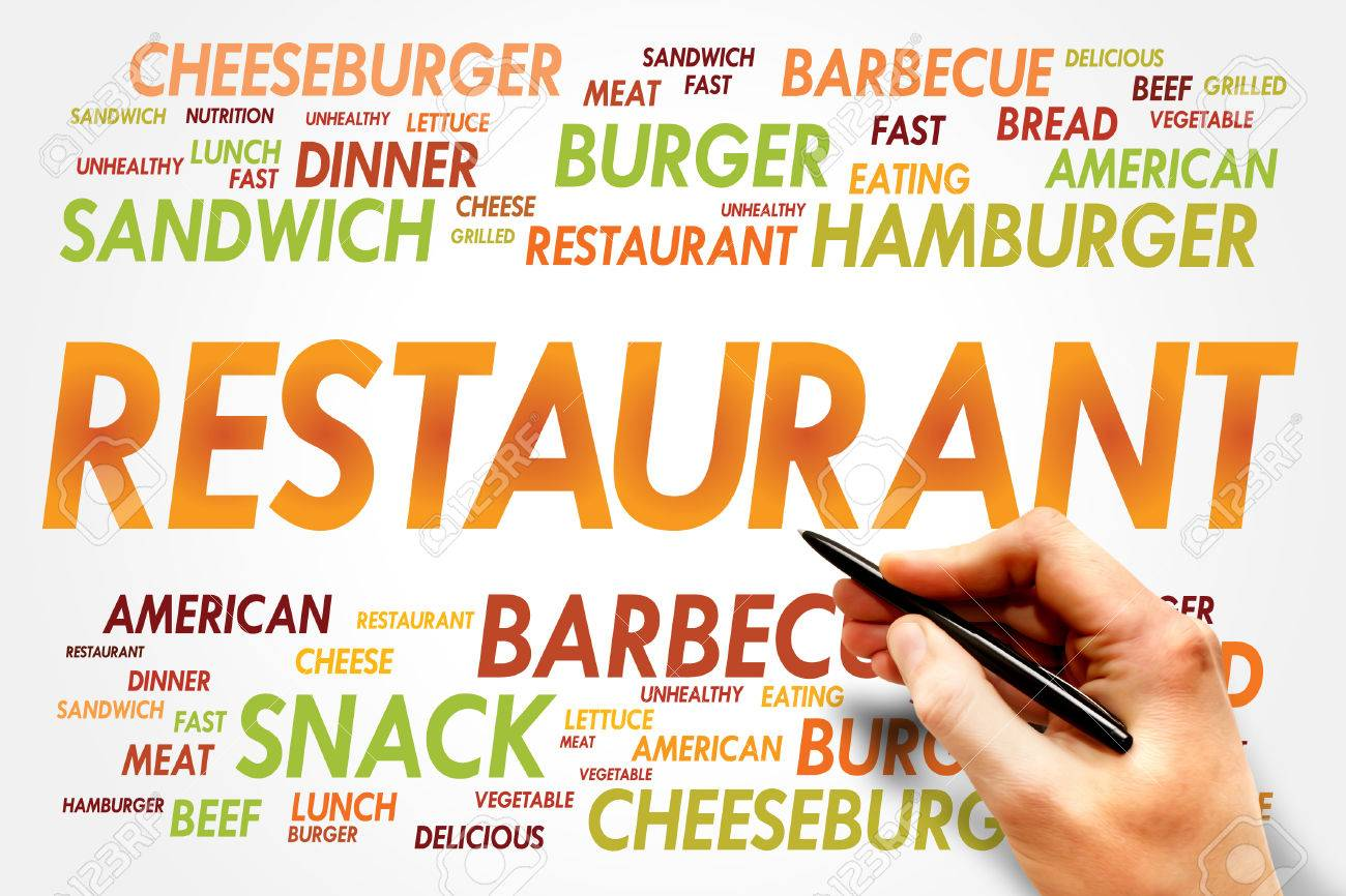 restaurant word cloud fast food concept stock photo picture and