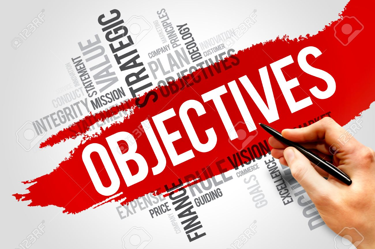 objectives word cloud business concept stock photo picture and