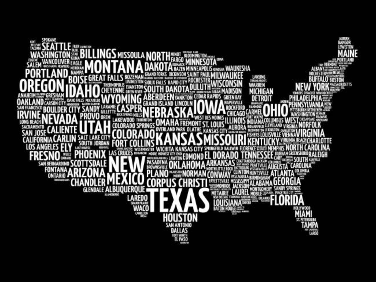 Boston Map Usa Map Word Cloud With Most Important Cities