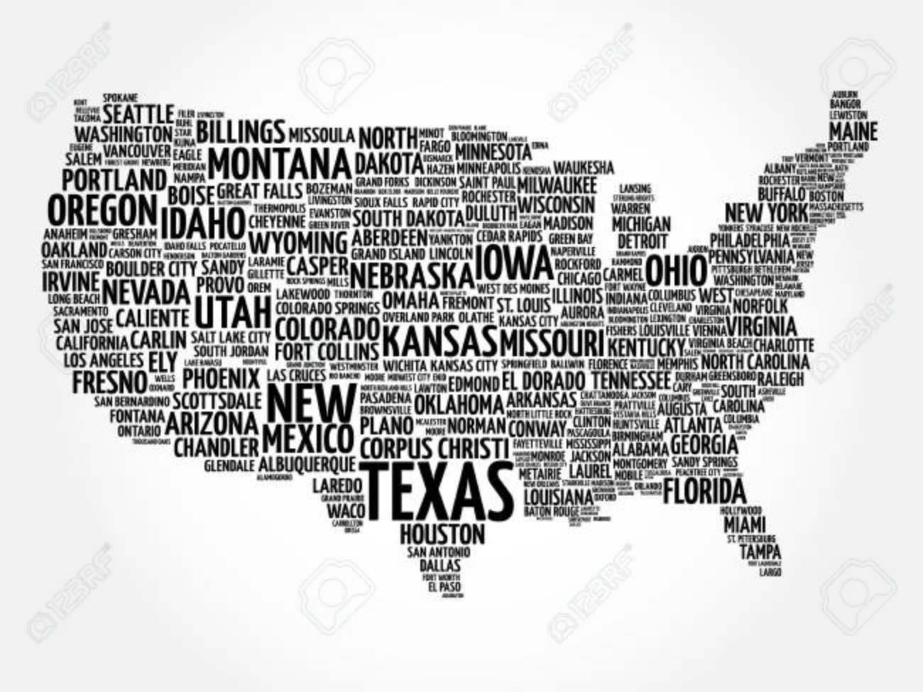 usa map word cloud with most important cities royalty free cliparts