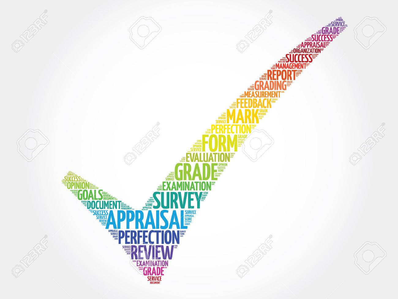 Colorful Appraisal Check Mark, Vector Business Concept Words ...