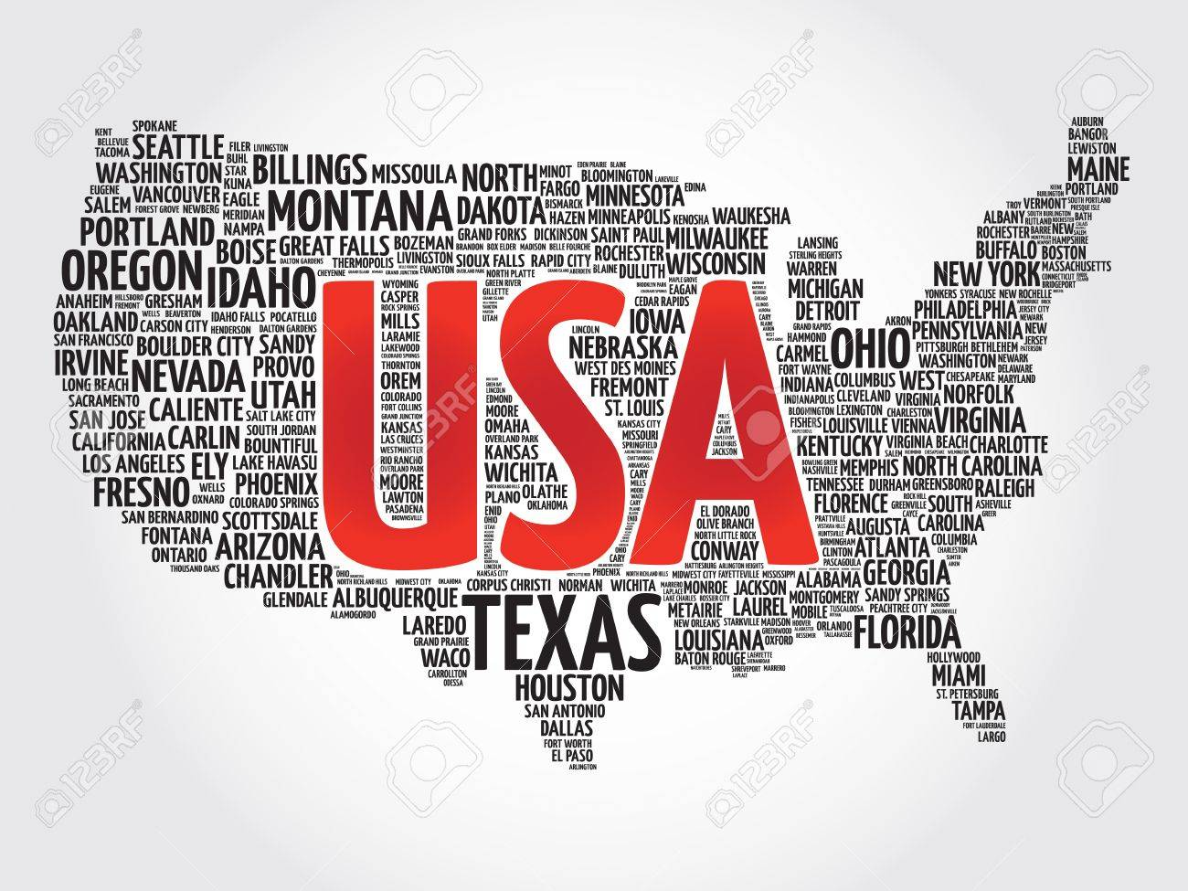 Usa Map Word Cloud Made With Words Cities Names Vector Collage