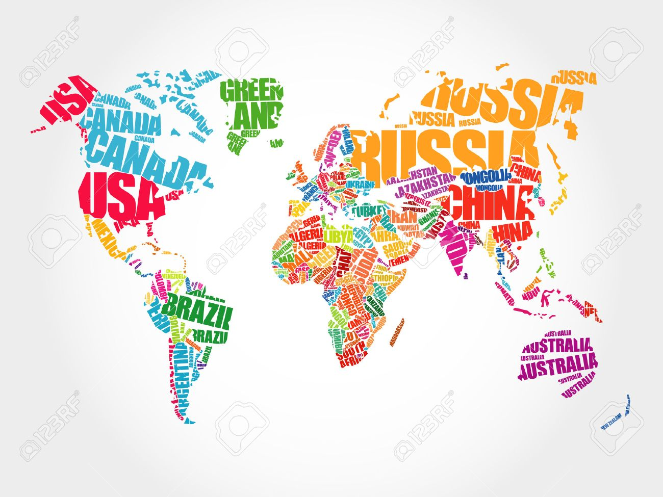 World Map In Typography Word Cloud Concept Names Of Countries - Wold map