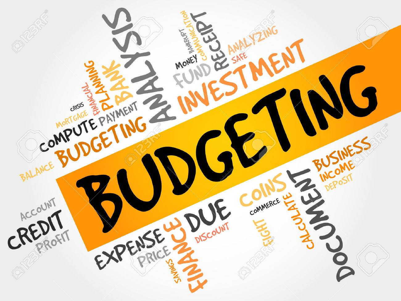 budgeting word cloud business concept royalty free cliparts